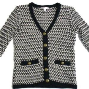 CAbi #868 Coco Cardigan Sweater Black White XS